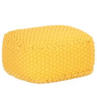 vidaXL Pouf Intrecciato a Mano Giallo Senape 50x50x30 cm in Cotone