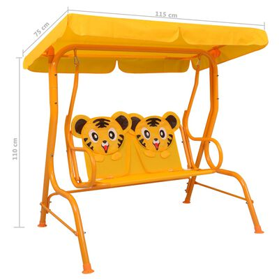 vidaXL Dondolo a Panchina per Bambini Giallo 115x75x110 cm in Tessuto