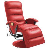 vidaXL Poltrona per TV Reclinabile Massaggiante Rossa in Similpelle