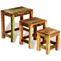 vidaXL Tavolini Impilabili Set 3 pz in Legno Vintage di Recupero