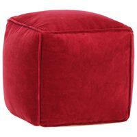 vidaXL Pouf in Velluto di Cotone 40x40x40 cm Rosso Rubino