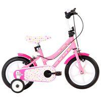 vidaXL Bici per Bambini 12 Pollici Bianca e Rosa