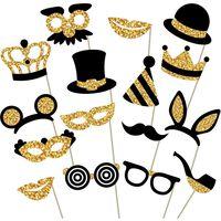 Puntello per foto per party confezione da 12 oro / nero