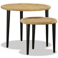 vidaXL Set Tavolini da Caffè 2 pz in Iuta Naturale