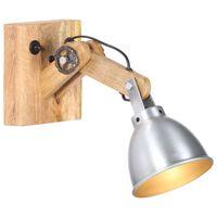 vidaXL Lampada da Parete E27 Argento Legno Massello di Mango e Ferro