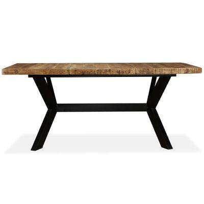 vidaXL Tavolo da Pranzo in Massello di Mango e Acciaio a Croce 180 cm