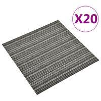 vidaXL Quadrotte di Moquette 20 pz 5 m² 50x50 cm Antracite a Strisce