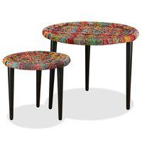 vidaXL Set Tavolini da Caffè 2 pz con Dettagli Chindi Multicolore