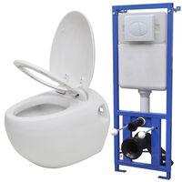 vidaXL WC a Muro Design a Uovo con Cisterna Nascosta Bianco