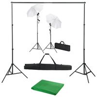 vidaXL Kit Studio Fotografico con Fondale Luci e Ombrelli