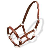 Cavezza testiera cuoio naturale regolabile per stalla marrone cavallo
