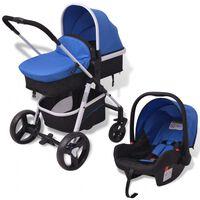 vidaXL Passeggino 3 in 1 in Alluminio Blu e Nero