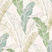 DUTCH WALLCOVERINGS Carta da Parati Foglie Tropicali Grigio e Verde