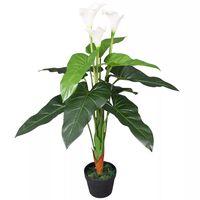 vidaXL Calla Lily Artificiale con Vaso 85 cm Bianco