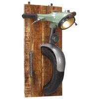 vidaXL Lampada da Parete Design Scooter Ferro e Massello di Mango