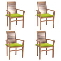 vidaXL Sedie da Pranzo 4 pz e Cuscini Verde Brillante Massello di Teak