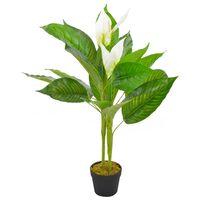 vidaXL Anthurium Artificiale con Vaso Bianco 90 cm