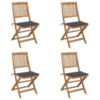 vidaXL Folding Garden Chairs 4 pcs with Cushions Solid Acacia Wood (313322+47588)