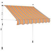 vidaXL Tenda da Sole Retrattile Manuale 150 cm a Strisce Blu e Gialle