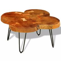 vidaXL Tavolino da Caffè 35 cm 4 Tronchi in Legno Massello di Sheesham