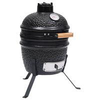 vidaXL Barbecue Affumicatore 2 in 1 Kamado in Ceramica 56 cm Nero