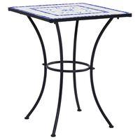 vidaXL Tavolino da Bistrot con Mosaico Blu e Bianco 60 cm in Ceramica