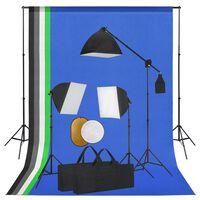 vidaXL Kit Studio Fotografico con Luci, Fondale e Riflettore