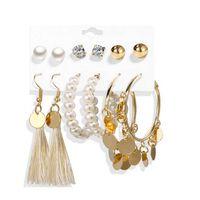 6 paia di orecchini, diversi modelli - oro / perle