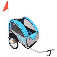 vidaXL Rimorchio da Bici per Bambini Grigio e Blu 30 kg