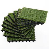 Outsunny Erba Sintetica per Giardino Set di 10pz 30x30cm Verde Scuro