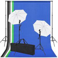 vidaXL Kit Studio Fotografico con 5 Sfondi Colorati e 2 Ombrelli