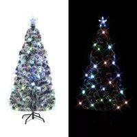 vidaXL Albero di Natale Artificiale Supporto/LED 180 cm Fibra Ottica