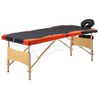 vidaXL Lettino da Massaggio Pieghevole a 3 Sezioni Legno Nero Arancio