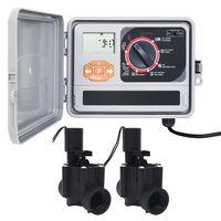 vidaXL Sistema di Controllo Irrigazione da Giardino a 2 Elettrovalvole