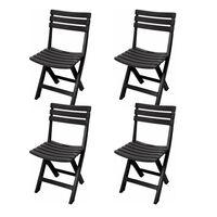 Pratico set di sedie pieghevoli - 4 x sedia pieghevole - Nero -