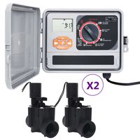 vidaXL Sistema di Controllo Irrigazione da Giardino a 4 Elettrovalvole