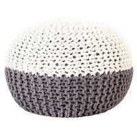vidaXL Pouf a Maglia Antracite e Bianco 50x35 cm in Cotone