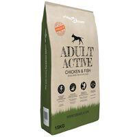 vidaXL Cibo Secco per Cani Premium Adult Active Chicken & Fish 15 kg