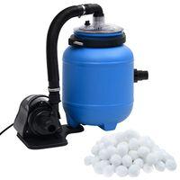 vidaXL Pompa con Filtro per Piscina Nera e Blu 4 m³/h