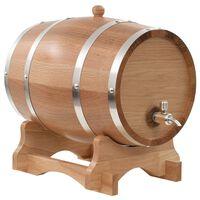 vidaXL Barilotto di Vino con Spina in Legno Massello di Rovere 12 L