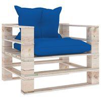 vidaXL Divano da Giardino in Pallet Cuscini Blu Reale in Legno di Pino