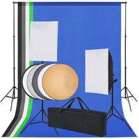 vidaXL Kit Studio Fotografico 5 Sfondi Colorati & 2 Softbox