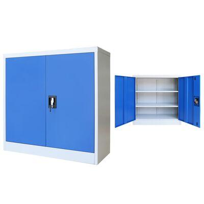 Vidaxl Armadio Per Ufficio In Metallo 90x40x90 Cm Grigio E Blu Vidaxl It