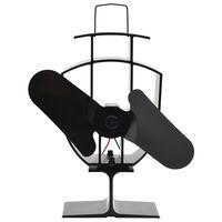 vidaXL Ventilatore per la Stufa con 2 Pale Nero