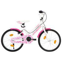 vidaXL Bici per Bambini 18 Pollici Rosa e Bianca