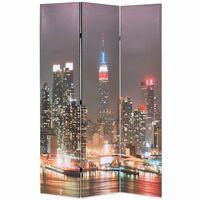 vidaXL Paravento Pieghevole 120x170 cm Stampa New York di Notte
