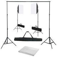 vidaXL Kit Studio Fotografico con Luci Softbox e Fondale