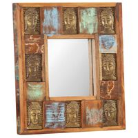 vidaXL Specchio Decorato con Buddha 50x50cm Legno Massello di Recupero