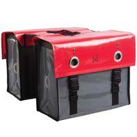 Willex Borse Laterali da Bici Tarpaulin 52 L Rosso e Grigio Scuro