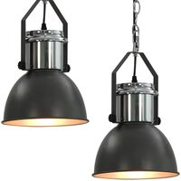 vidaXL Lampade da Soffitto 2 pz Grigio Tondo E27